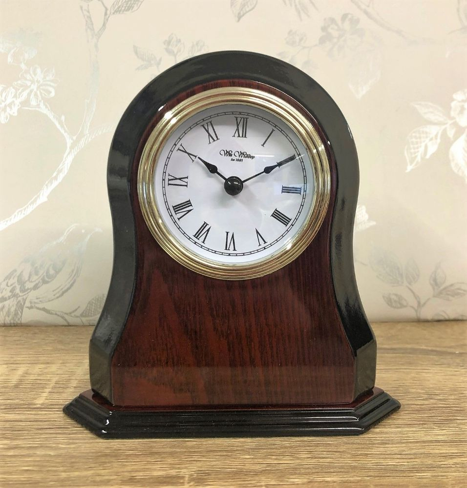 Polished Wooden Mantel Clock Shaped Sides